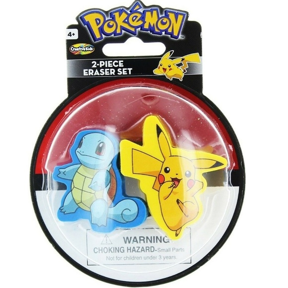 Creative Kids International Inc Other - Pokemon 2 Piece Eraser Set - Pikachu And Squirtle